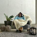Manta 0,80×1,00m Tricot Gigante Lã Merino Premium