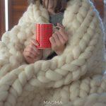 Manta Extra Grande 1,50×2,00m – Tricot Gigante Lã Merino Premium