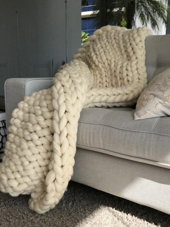 Manta tricot gigante lã