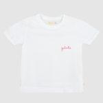 Camiseta Infantil Branca Com Bordado Gatinha Vermelho