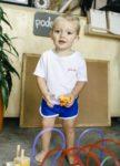Camiseta Bebê Branca Com Bordado Vermelho Gatinho