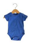 Body Bebê Manga Curta Azul