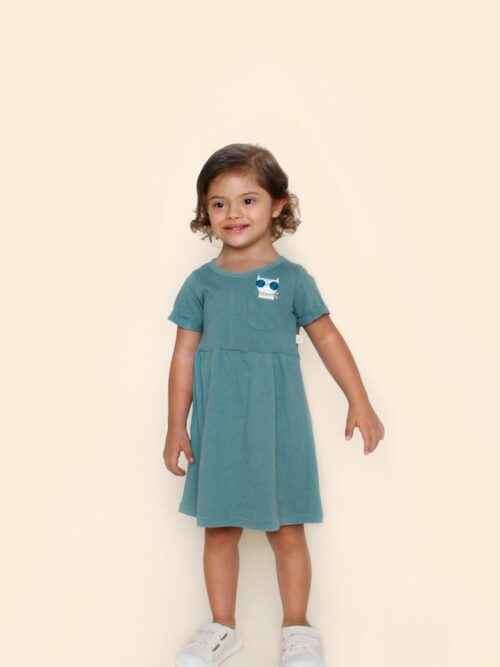 Vestido Bebê Verde Gatinho