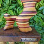 Escultura Abstrata em marchetaria Madeira