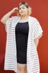 Kimono Stripes Plus Size Branco