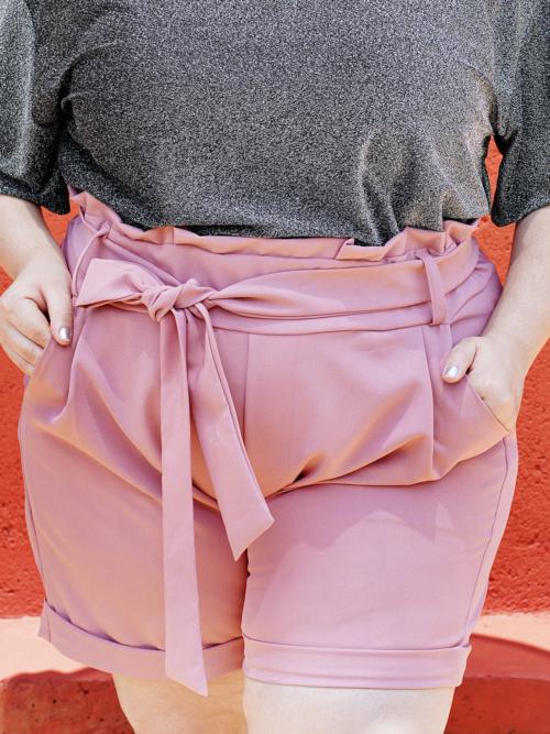 Shorts Paperbag Rosa Plus size