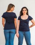 Camiseta Sustentável Decote U Feminino Embaúba Azul Marinho