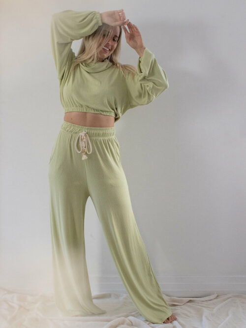 Pantalona Bolso Canelada Verde Claro Upcycle