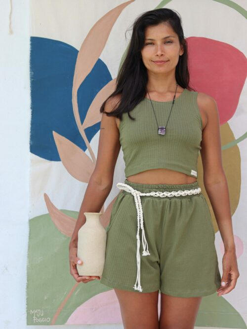 Shorts Oliva em Malha