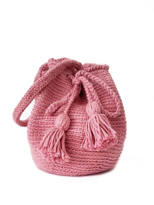 Bolsa Saco Ivone em Crochê – Rosa Antigo