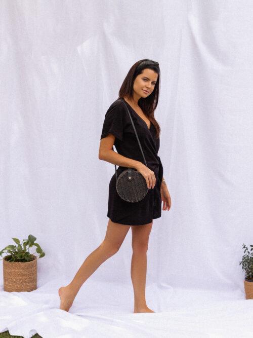 Vestido em Linho e Viscose Amarração Lateral Preto