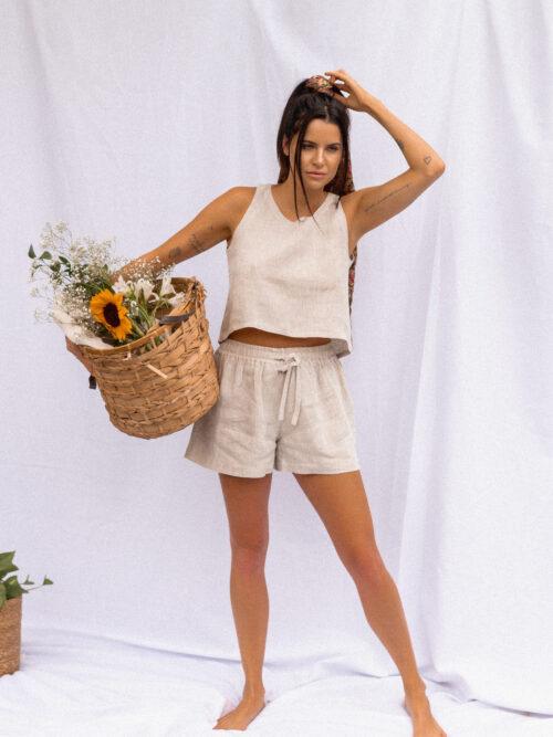 Shorts Amarração Confortável em Linho e Viscose Cru