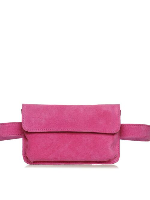 Pochete Couro Camurça Legítimo Rosa Pink