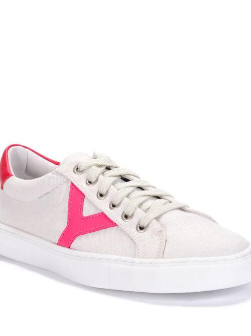 Tênis Y2 Lona Ecológica Recortes em Couro Rosa Pink e Vermelho
