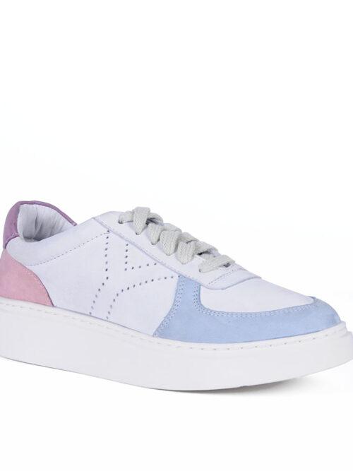 Tênis Y4 Recortes Couro legítimo Rosa e Azul