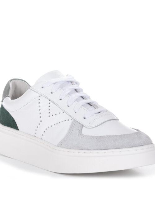 Tênis Y4 Recortes Couro legítimo Branco Detalhe Verde e Cinza