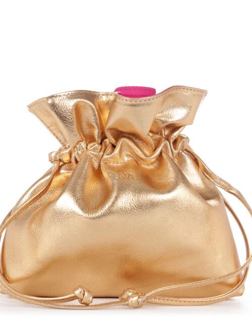 Bolsa Saco em Couro Dourado