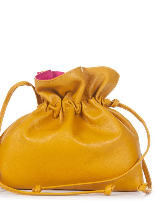Bolsa Saco em Couro Amarelo