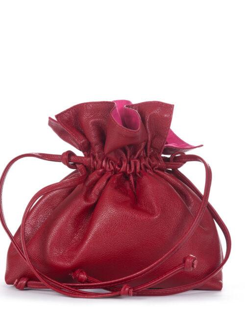 Bolsa Saco em Couro Vermelha