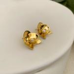 Brinco Mini Orquídea Prata Banho Ouro 18k Jardim