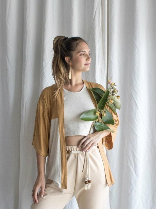 Kimono 2 cores Malha Upcycle