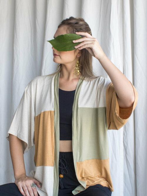 Kimono Retalhos 3 cores Malha Upcycle
