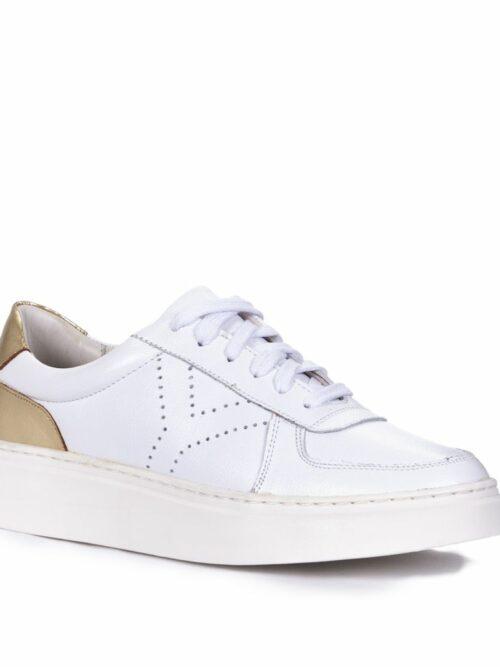 Tênis Y4 Recortes Couro legítimo Branco Detalhe em Dourado