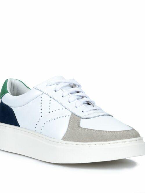 Tênis Y4 Recortes Couro legítimo Branco Detalhe em Verde e Azul Marinho